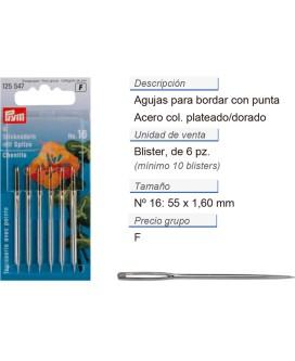 Agujas de bordar no.16 con punta ac. 1,60 x 55 mm plateado/d