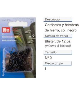 Corchetes y hembras hierro no. 9 negro CONT: 5 TAR de 12 pz