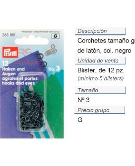 Corchetes no.3 latón negro CONT: 5 TAR de 12 pz