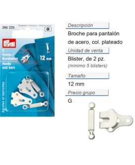 Broches p. pantalon cosible acero 12mm plateado CONT: 5 TAR