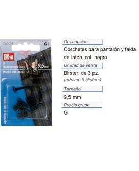 Corchetes pantalón p. coser latón 9,5mm negro CONT: 5 TAR de