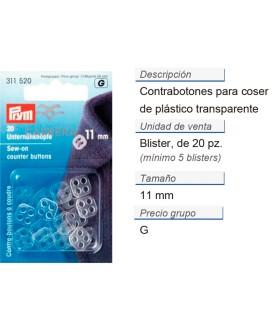 Contrabotones 11 mm de coser poly transp. CONT: 5 TAR de 20