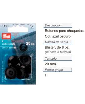 Botones para chaquetas 20 mm azul oscuro CONT: 5 TAR de 8 pz