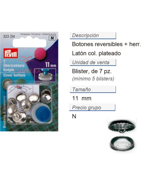 Botones revestibles 11 mm plateado con herram. CONT: 5 TAR d