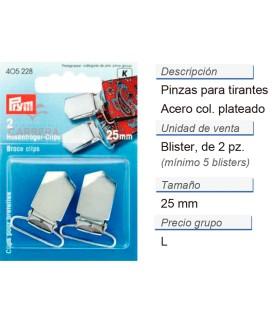 Pinzas p. tirantes acero 25 mm plateado CONT: 5 TAR de 2 pz