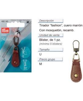 Tirador fashion zip cuero marrón CONT: 5 TAR de 1 pz