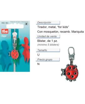Tirador fashion zip prym for kids mariquita plateado viejo C