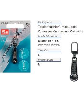 Tirador fashion zip Bola color acero CONT: 5 TAR de 1 pz