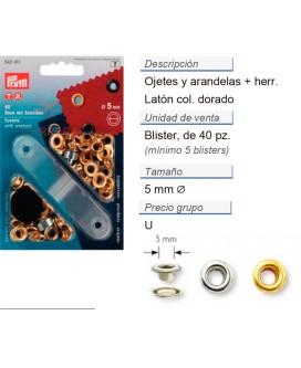 Ojetes y arandelas latón 5,0 mm dorado CONT: 5 TAR de 40 pz