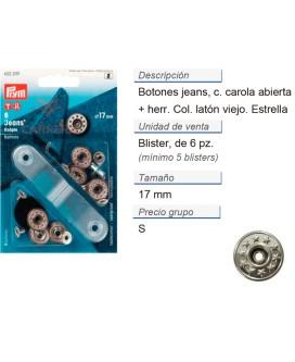 Botones jeans estrellas abierto 17 mm latón viejo/blanco mat