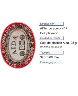 Alfileres de acero no. 7 plat. 0,60 x 32 mm CONT: 40 LAT de