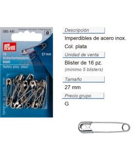 Imperdibles 0 acero 27 mm plateado CONT: 5 TAR de 16 pz
