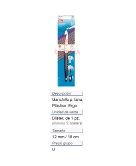 Ganchillo p. lana plast. ergo. 12mm / 18cm CONT: 5 TAR de 1