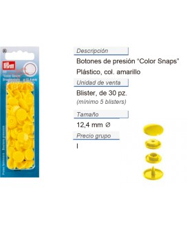 Bot. pres. ColorSnaps 12,4 mm amarillo claro CONT: 5 TAR de