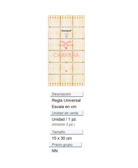 Regla universal con escala en cm 15x30 Omnigrid CONT: 3 PZ d