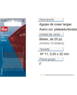 Agujas de coser largas no. 11 acero 0,50 x 32 mm plateado/do