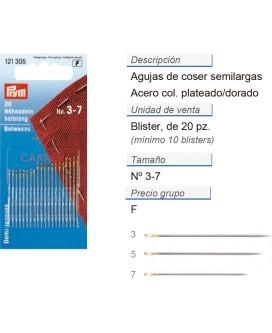 Agujas de coser semilargas no. 3-7 acero plateado/dorado CON
