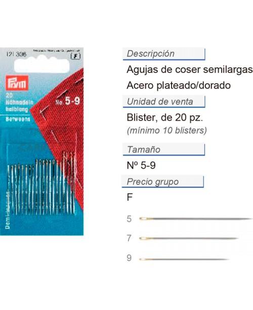 Agujas de coser semilargas no. 5-9 acero plateado/dorado CON