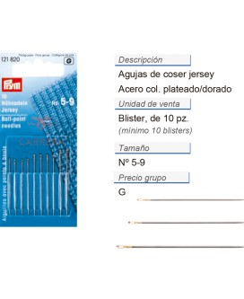 Agujas de coser jersey no. 5-9 plateado/dorado CONT: 10 TAR