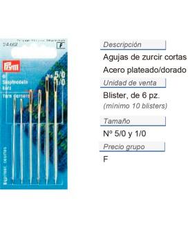 Agujas de zurcir cortas no. 5/0-1/0 plateado/dorado surt. CO