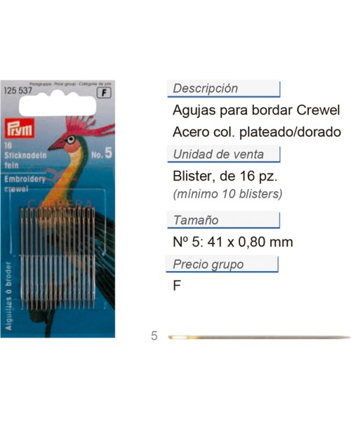 Agujas de bordar crewel no. 5 acero 0,80 x 41 mm plateado/do