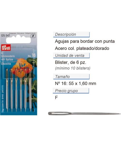 Agujas de bordar no. 16 con punta ac. 1,60 x 55 mm plateado/