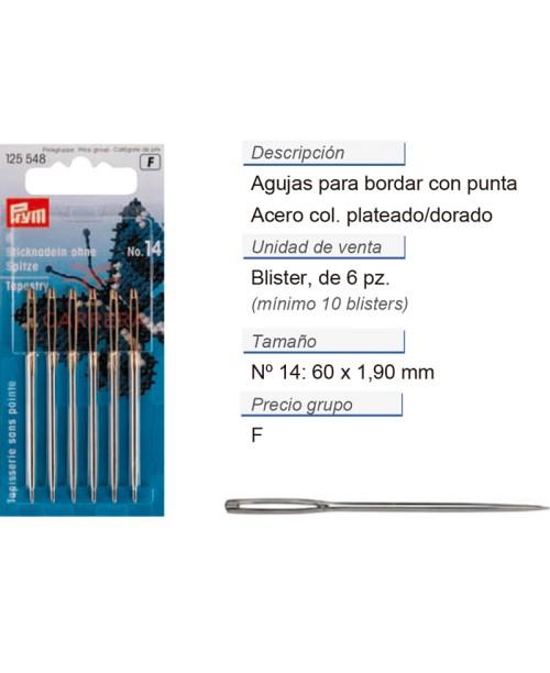 Agujas de bordar no. 14 sin punta ac. 1,90 x 60 mm plateado/