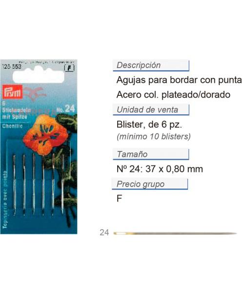 Agujas de bordar no. 24 con punta ac. 0,80 x 37 mm plateado/
