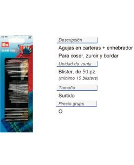 Agujas en carteras p. coser/zurc./bord. + enhebrador CONT: 1
