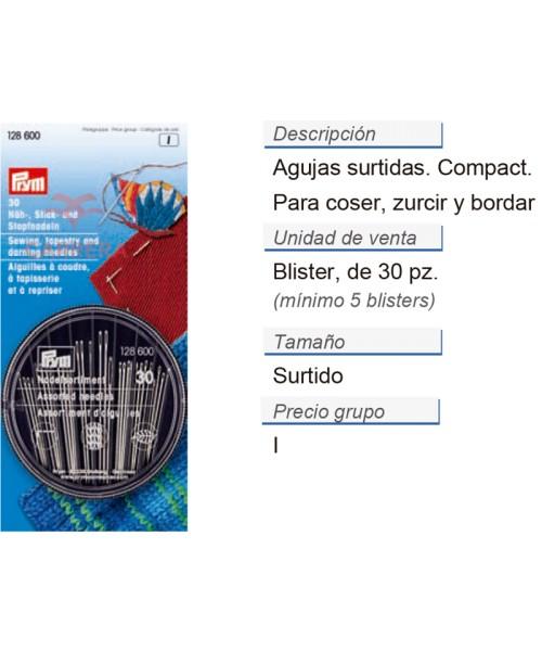 Agujas p. coser/zurc./bord. surt. Compact CONT: 5 TAR de 30