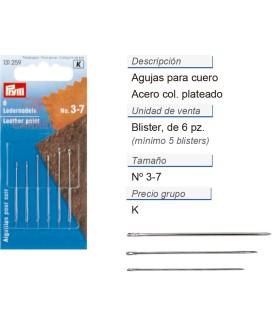 Agujas para cuero no. 3-7 acero plateado CONT: 5 TAR de 6 pz