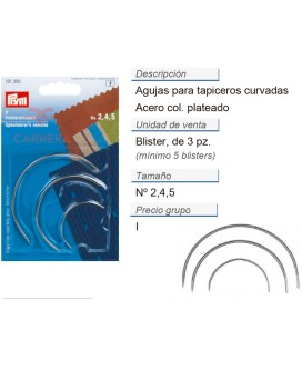 Agujas p. tapiceros curvadas no. 2,4,5 plateado CONT: 5 TAR
