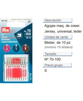Agujas maq. de coser 705h-ll-suk 70-100 CONT: 10 TAR de 10 p