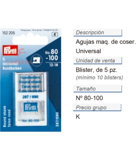 Agujas maq. de coser 287(690) 80-100 sur. CONT: 10 TAR de 5