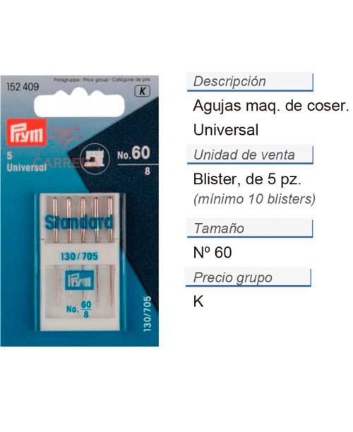 Agujas maq. de coser 130/705h i no.60 CONT: 10 TAR de 5 pz