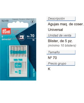Agujas maq. de coser 130/705h i no.70 CONT: 10 TAR de 5 pz