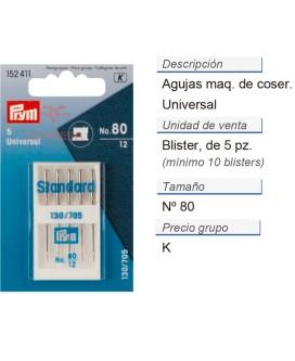 Agujas maq. de coser 130/705h i no.80 CONT: 10 TAR de 5 pz