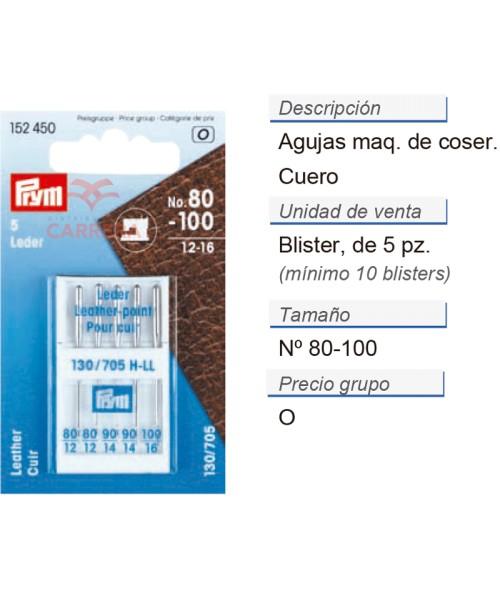 Agujas maq. de coser 705hll 80-100 cuero CONT: 10 TAR de 5 p