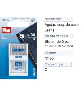 Agujas maq. de coser 705h-j no.90 jeans CONT: 10 TAR de 5 pz