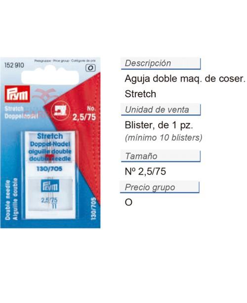Aguja doble p. maq. 705 75/2,5 stretch CONT: 10 TAR de 1 pz