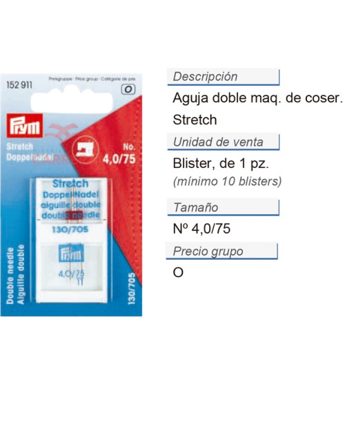 Aguja doble p. maq. 705 75/4,0 stretch CONT: 10 TAR de 1 pz