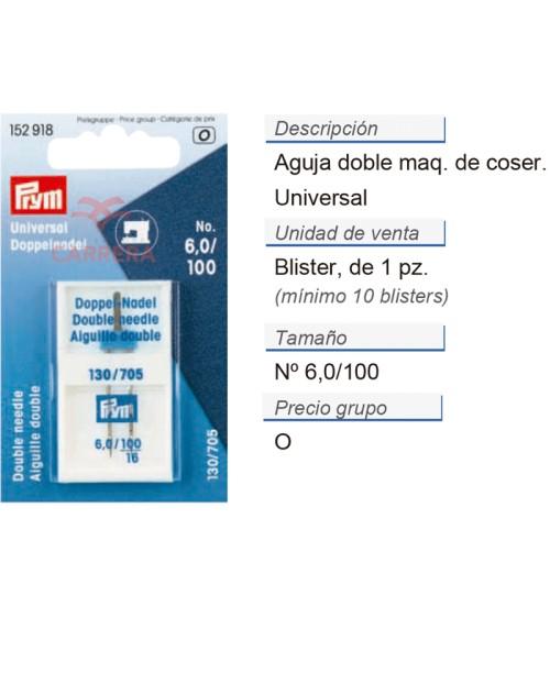Aguja doble p. maq. 705 100/6,0 CONT: 10 TAR de 1 pz