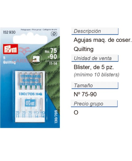 Agujas maq. pespuntar quilting  nos.75/90 CONT: 10 TAR de 5