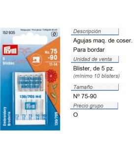 Agujas maq. de coser p. bordar nos.75/90 CONT: 10 TAR de 5 p