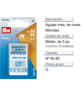 Agujas maq. de coser microtex nos.60-80 CONT: 10 TAR de 5 pz
