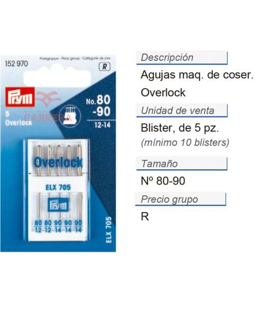 Agujas maq. de coser overlock 80-90 CONT: 10 TAR de 5 pz