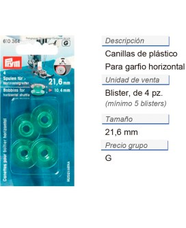 Canillas para garfio horizontal 21,6 mm CONT: 5 TAR de 4 pz