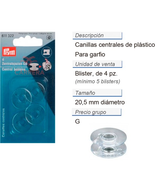 Canillas centrales plastico 15k CONT: 5 TAR de 4 pz