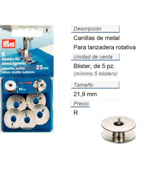 Canilla p. lanzadera rotativa 21,9 mm CONT: 5 TAR de 5 pz