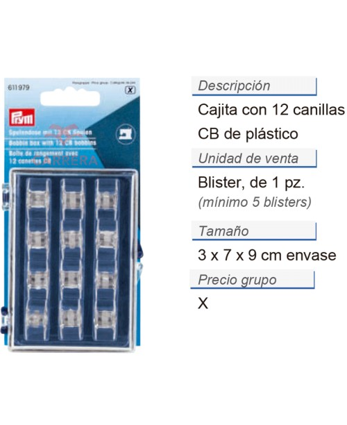 Cajita con 12 canillas cb plást. CONT: 5 TAR de 1 pz